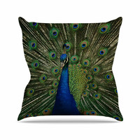"""Angie Turner """"Proud Peacock"""" Blue Animals Outdoor Throw Pillow"""
