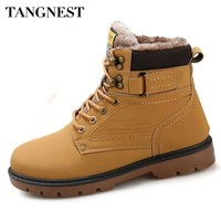 Tangnest Winter Fur Men Boots Casual Lace Up Safety Work Boots Autumn Men Platform Shoes Rubber Snow Boot Man Big Size 46 XMX637