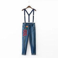 Snake And Floral Embroidered Braces Jeans