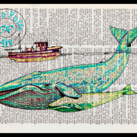 Green Blue Whale, Yellow Baby Whale & Brown Fishing Trawler Boat Art Beautifully Upcycled Vintage Dictionary Page Book Art Print