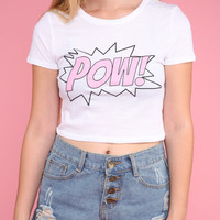 Pink POW Graphic Crop Top