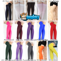 16 Colors Cosplay Basic Pure Color Thigh High Long Socks CP130234