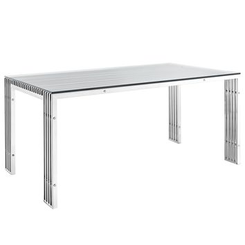 Gridiron Stainless Steel Rectangle Dining Table Silver EEI-1434-SLV