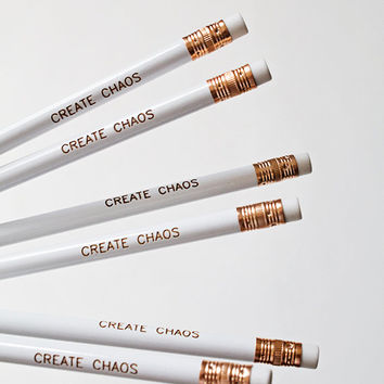White Quote Pencil Set of 6 Create Chaos Inspirational Quote Office Supplies White Engraved Pencil Set Dorm and School Supplies