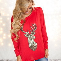 (Pre-Sale) Glittered Reindeer French Terry Sweater Red - Modern Vintage Boutique