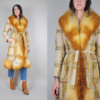 60's Paris Couture red FOX FUR coat