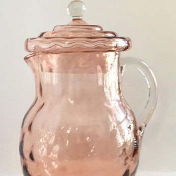 Pink Glass Pitcher with Lid, Vintage Pink Glass Lemonade Pitcher, Pink Depressionware