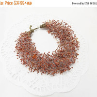 CHRISTMAS SALE Brown necklace multistrand necklace air Necklace Brown aventurine natural stone necklace bib necklace gift for mom gift idea