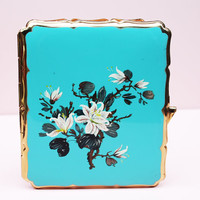 Cigarette Case, Business Card Holder, Stratton Case, Aqua Blue, Floral, Handbag Accessory, Card Wallet, Stars, Metal Tin, Enamel - 1950's