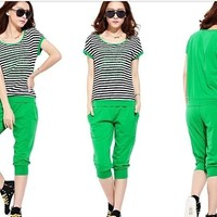 One Set Slim Sportswear  For Lady Summer Woman  Short Sleeve with Pants