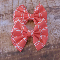 Coral and White  Bow Clip Headband Hair Accessories Baby Toddler Adult