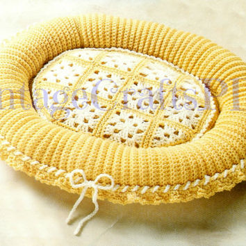 Vintage Crochet Pattern Comfy Pet Bed Crochet Pattern Granny Square glamorous cat kitty kitten dog puppy pooch pet bed lounger Cat Bed Dog