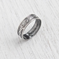 Vintage Sterling Silver Ring Band - Antique Size 6 1/2 Art Deco Signed Uncas Wide Stacking Wheat Milgrain Wedding Jewelry / Eternity