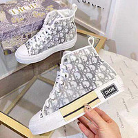 Dior CD new fashion men's and women's high-top alphabet canvas shoes casual sports shoes