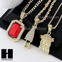 "RUBY JESUS PLUG PENDANT 24"" 30"" ROPE BOX CUBAN CHAIN NECKLACE SET S08"