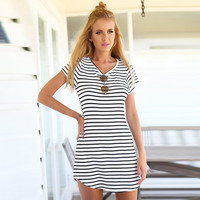 Striped Short Sleeve Shift Mini Dress