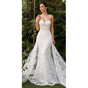 Off White Strapless Fitted Wedding Gown Floral Applique Glitter Tulle Overskirt
