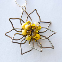 Sunshine Yellow Flower and Antiqued Brass Wire Necklace, Bridal