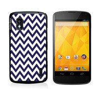 Chevron Pattern- Navy Google Nexus 4 Case - For Nexus 4