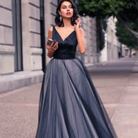 Hot Sale A Line V Neck Multiple Layers Tulle Formal Prom Gown Gothic Open Back Fashion Custom Made Evening Dresses XXY477 Alternative Measures - Brides & Bridesmaids - Wedding, Bridal, Prom, Formal Gown