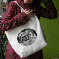 Shopper Grocery Diaper Tote Bag 100% Cotton Natural Color with Little Red Riding Hood Gustave Doré print