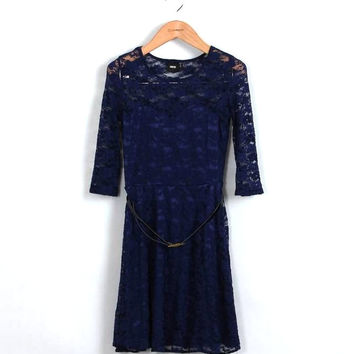 Navy Belted Floral Layer Lace Dess - Clearance