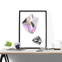 Geometric art print, gem illustration, abstract design poster, modern decor, home wall decor, apartment wall art, gift, scandinavian,minimal