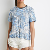 Boxy Palm Print Top
