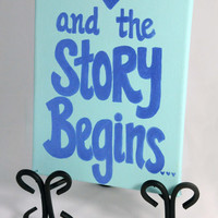 Canvas Wedding Sign, Bridal Decor, Keepsake Wedding Canvas, Our Story Begins, Love Quote, Reception Decoration, Blue, Romantic Gift Idea