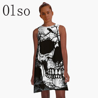 Polyester/Spandex Black Dress 3D Skull Printed 2017 Summer Women Dress O neck Vintage Knitted Dress Loose Plus Size Casual Dress
