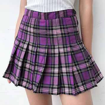 Pleated Plaid Skater Skirt