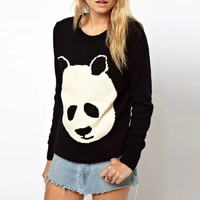 Black Panda Pullover Knitted Sweater
