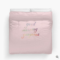 Pink Duvet Cover Good Morning Gorgeous Pastel Light Pink Dusty Rose Shabby Chic Saying Phrase Quote Words Twin King Queen Bed Spread