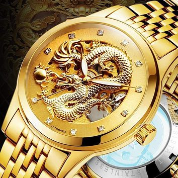 Skeleton Watches For Men - Stainless Steel Band Men's Watch