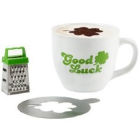 Present Time Cappuccino Mug Set with Mug, Grater and Choco Stencil, Good Luck
