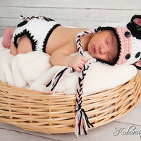 Baby Cow hat and diaper cover Detachable bow by WillowsGarden