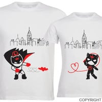 We Are Irresistibly Attracted™ His & Hers Matching Couple Shirt Set,Batman Catwoman,Valentines Day,Christmas,Anniversary,Gifts for Him & Her
