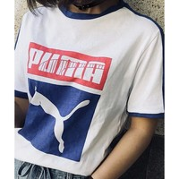 PUMA lovers color LOGO printed short sleeves casual matching round collar Tee