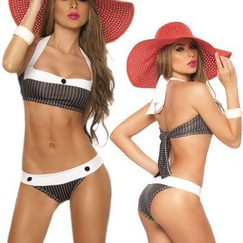 Sexy Black Pin Striped Two Piece Swimsuit - Halter Top and Brazilian Bottom - Small