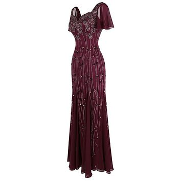 Women's Party Gown Cap Sleeves Queen Anne Pattern Sequin Long Bodycon