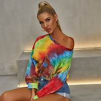 2020 new women's printed tie-dye sexy long-sleeved sweater top