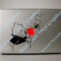 Macbook decal Winnie the Pooh with red and green apple overlay | WestCoastVinylGraphicsandWoodwork - Techcraft on ArtFire