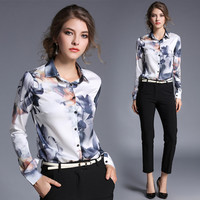 New Arrival 2017 Female Slim Body Printed All match Blouse Fashion Long Sleeve Blouse Office Lady Blouse 706F 30-in Blouses & Shirts from Women's Clothing & Accessories on Aliexpress.com | Alibaba Group