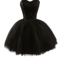 APTRO Women's Sweetheart Tulle Short Homecoming Party Dresses XXXL Black