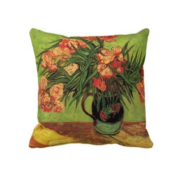 Still Life Vase with Oleanders and Books, Van Gogh Throw Pillow from Zazzle.com