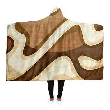 Brown and Beige Swirling Waves Hooded Blanket