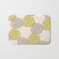 Bath Mat -  Two sizes, Bathroom, Home, Pattern, Boho, Hippie, Nature, Abstract, Dorm, Decor, Zen, Gift, Girl, Floral. Yellow, Pink, Pastel