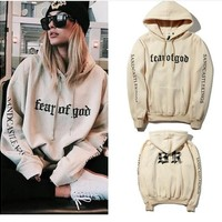 Autumn Winter Lover Man and Women Hip Hop Design Vetements Cooperative Version FEAR OF GOD FOG Patchwork Pullover Hoodie