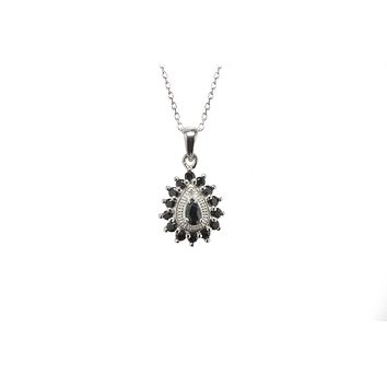 925 Sterling Silver Diamond and Dark Sapphire Necklace Teardrop 18 Inch Chain