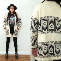 Vintage 70s CHUNKY KNIT Southwestern Cream Open Cardigan Sweater // Brown Black // Hipster Hippie Boho Gypsy // XS / Small / Medium